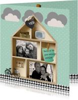 Verhuiskaart houten letterbak huis