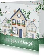 Verhuiskaart huis illustratie feest dieren planten