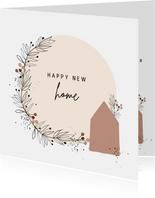 Verhuiskaart huisje met takjescirkel