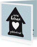 Verhuiskaart huisje zwart-wit