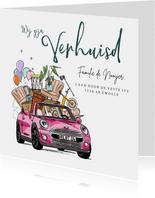 Verhuiskaart illustratie auto inboedel plant fiets ballonnen
