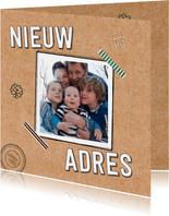Verhuiskaart karton foto tape