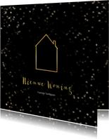 Verhuiskaart kerst zwart huis van goud - Een gouden kerst