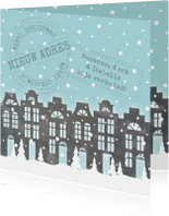 Verhuiskaart Kerstkaart Huisjes