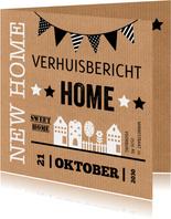 Verhuiskaart kraftlook huisjes slinger typografie