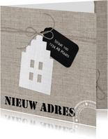 Verhuiskaart Linnen Huisje Label Stempel