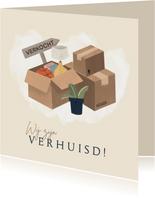 Verhuiskaart met dozen en plant
