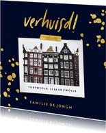 Verhuiskaart met gouden spetters en foto