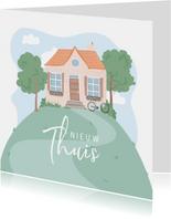 Verhuiskaart met illustratie van een huis op een berg.