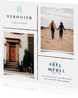 Verhuiskaart met lijnen, foto's en lichtblauwe accenten