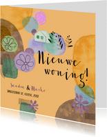 Verhuiskaart met plantjes en kleur vlekken