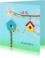 Verhuiskaart met vogelhuisjes