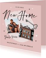 Verhuiskaart new home foto sleutel hartjes