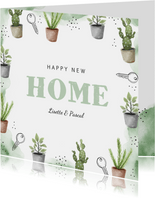 Verhuiskaart new home plantjes waterverf sleutel