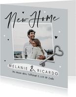 Verhuiskaart new home sleutel nieuwe woning foto hartjes