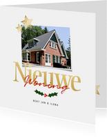Verhuiskaart nieuwe woning voor 2 foto's - een gouden kerst