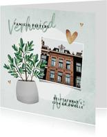 Verhuiskaart plant met foto en betonlook achtergrond