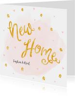 Verhuiskaart roze waterverf en gouden huisjes confetti