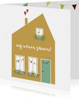 Verhuiskaart Samenwonen Huis met hartjes