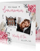 Verhuiskaart stijlvol samenwonen bloemen roze foto