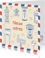 Verhuiskaart tekening brievenbus