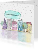 Verhuiskaart vierkant met handgeschilderde huisjes
