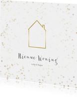 Verhuiskaart vierkant met huis - Een gouden kerst