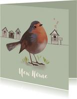 Verhuiskaart vogel roodborstje