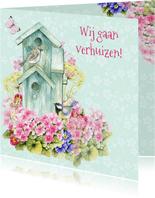 verhuiskaart vogelhuis bloemen