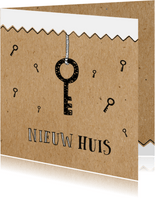 Verhuiskaart voor de sleutel van nieuwe woning