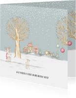Verhuiskaart winterlandschap met huisjes en hertjes