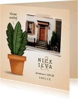 Verhuiskaartje 'nieuwe woning' met plant in pot