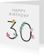 Verjaardag 30 met bloemen