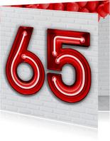Verjaardag 65 in Stoere Rode Neon Cijfers