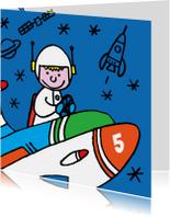 Verjaardagskaarten - verjaardag - astronaut  - raket