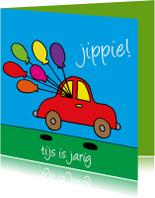 Verjaardagskaarten - verjaardag - auto met ballonnen