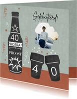 Verjaardag bier krijtbord man