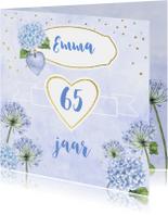 Verjaardag blauwe bloemen aquarel