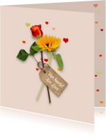 Verjaardag bloemen en hartjes RB