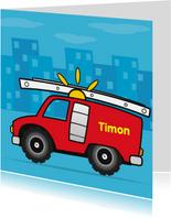 verjaardag brandweer auto jongen 66