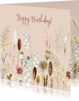 Verjaardag droogbloemen pampus