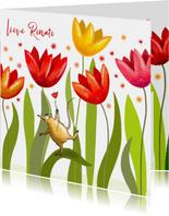 Verjaardag - Fantasie tulpen met feestbeestje