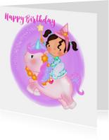 Verjaardag feetje op een Unicorn