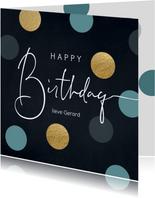 Verjaardag felicitatie wenskaart dots man