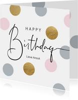 Verjaardag felicitatie wenskaart dots