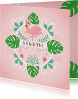 Verjaardag flamingo monstera bladeren