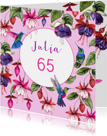 Verjaardag fuchsiabloemen kolibrie