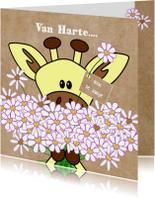 Verjaardag giraffe met bloemen hartjes