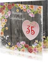 verjaardag hart bloemen