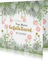 Verjaardag hippe kaart met bloemen en botanica